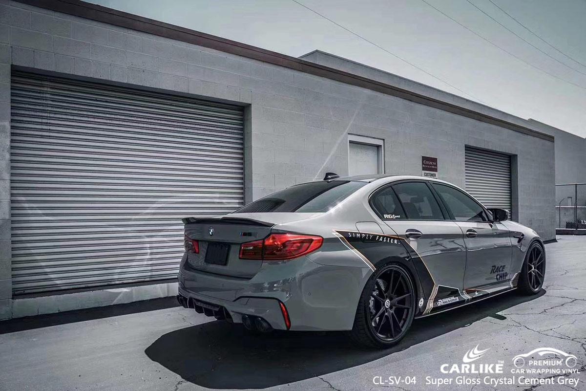 CL-SV-04 super gloss crystal cement grey car wrap vinyl for BMW