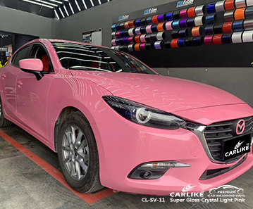 Envoltório de vinil de alto brilho de carro CL-SV-11 super cristal luz rosa para MAZDA Cuba