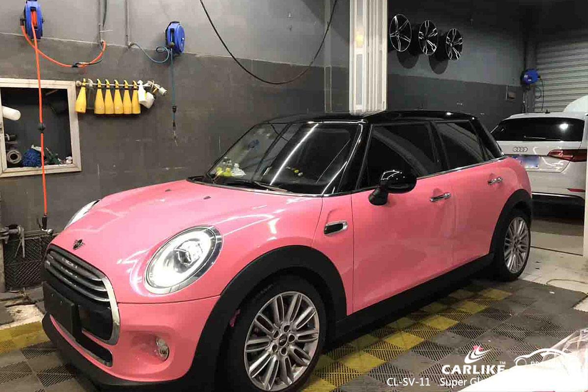 CL-SV-11 super gloss crystal light pink car wrap vinyl for MINI
