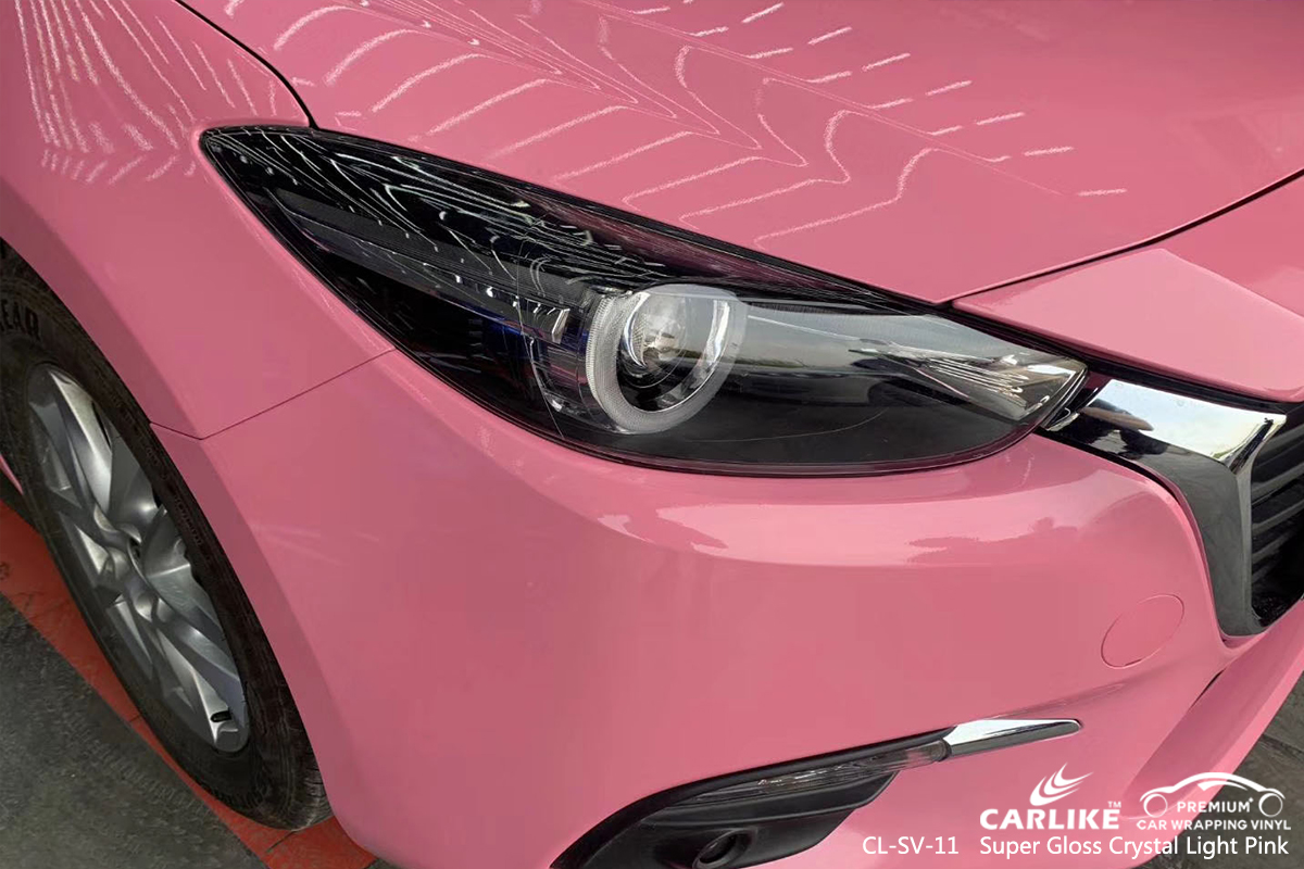 CL-SV-11 super gloss crystal light pink car high gloss vinyl wrap for MAZDA Cuba