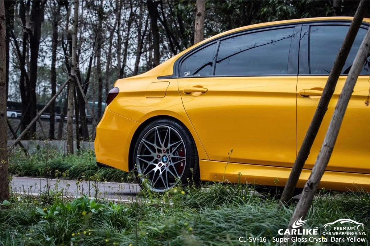 CL-SV-16 SUPER GLOSS CRYSTAL DARK YELLOW CAR WRAP VINYL for BMW