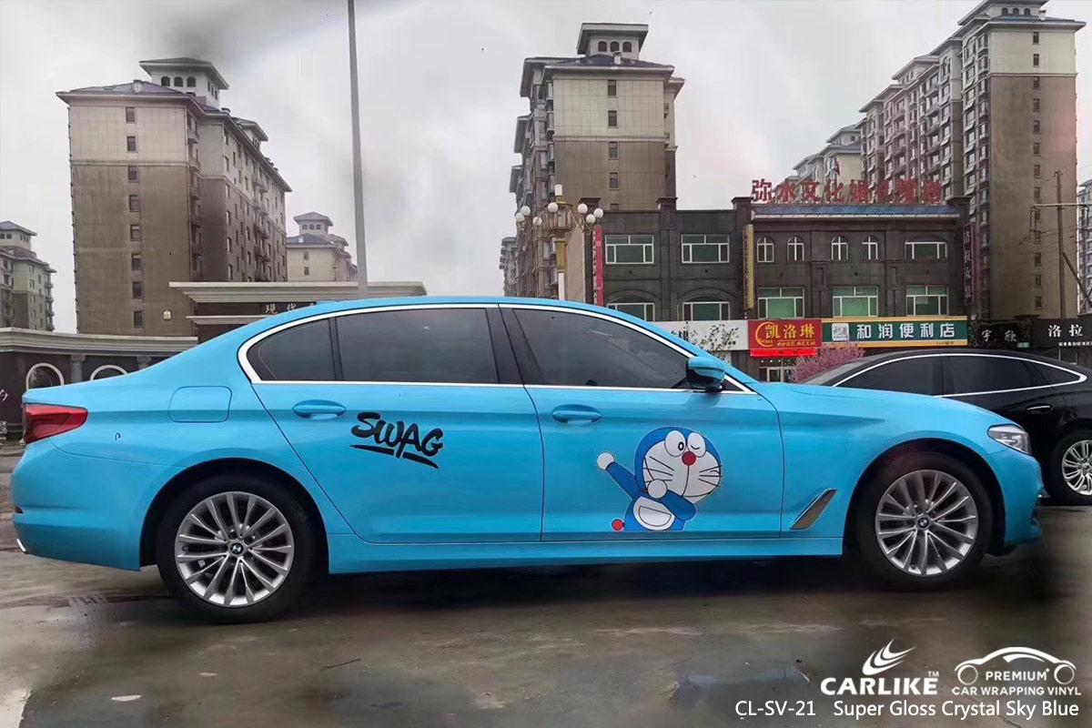 CL-SV-21 super gloss crystal sky blue car wrap vinyl for BMW