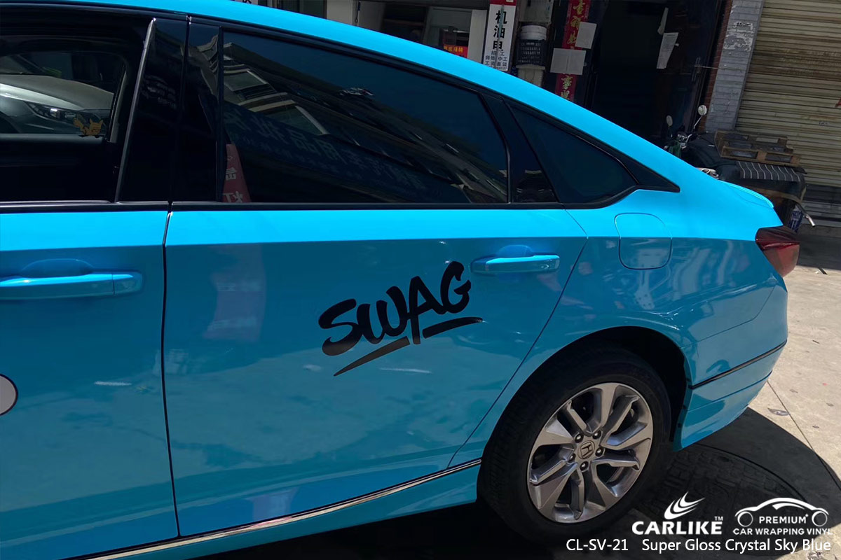 CL-SV-21 super gloss crystal sky blue car wrap vinyl for HONDA