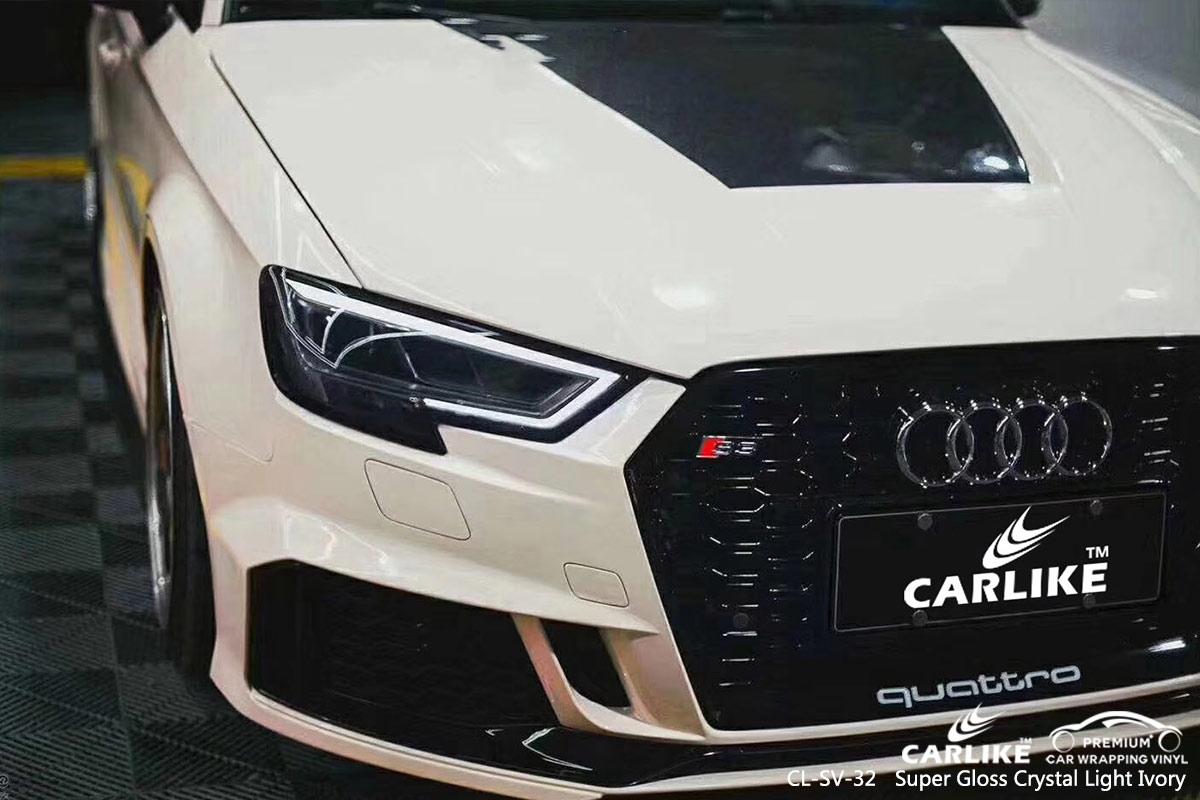 CL-SV-32 super gloss crystal light ivory car wrap vinyl for AUDI
