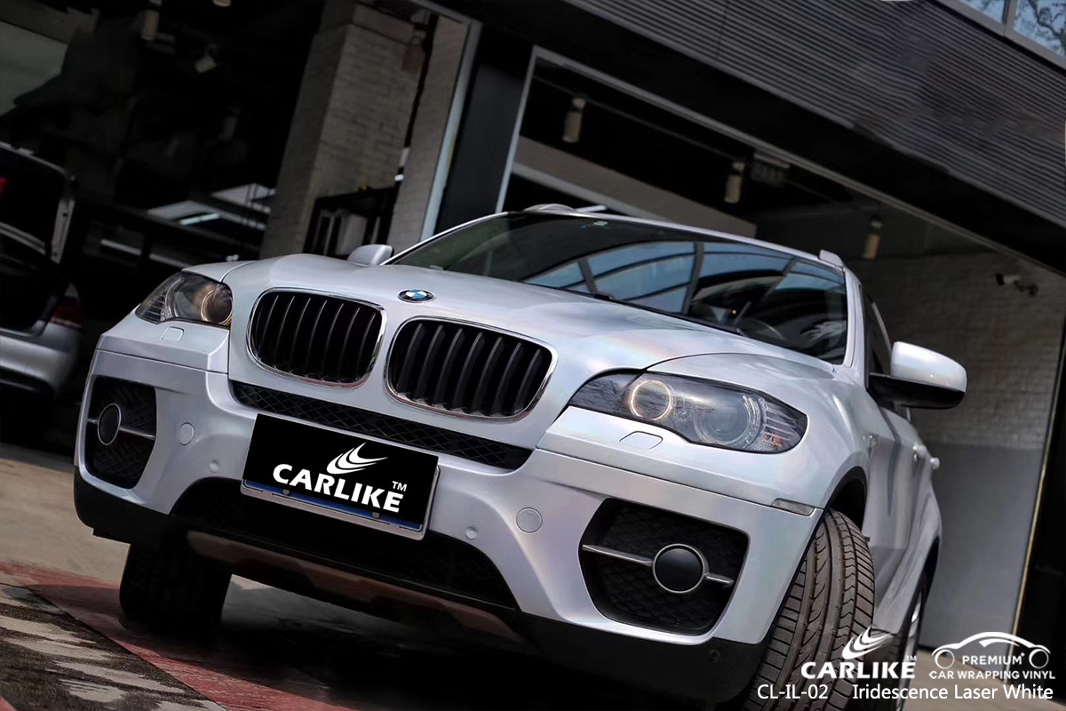 CL-IL-02 iridescence laser white car wrapping foil for BMW San Francisco