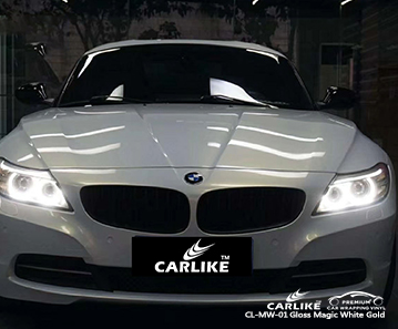 CL-MW-01 gloss magic white to gold car vinyl wrap gloss for BMW New Jersey