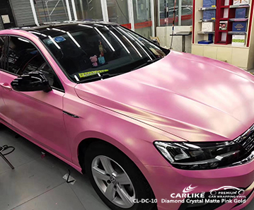 CL-DC-10 diamond crystal matte pink gold wrap my car for VOLKSWAGEN Dover