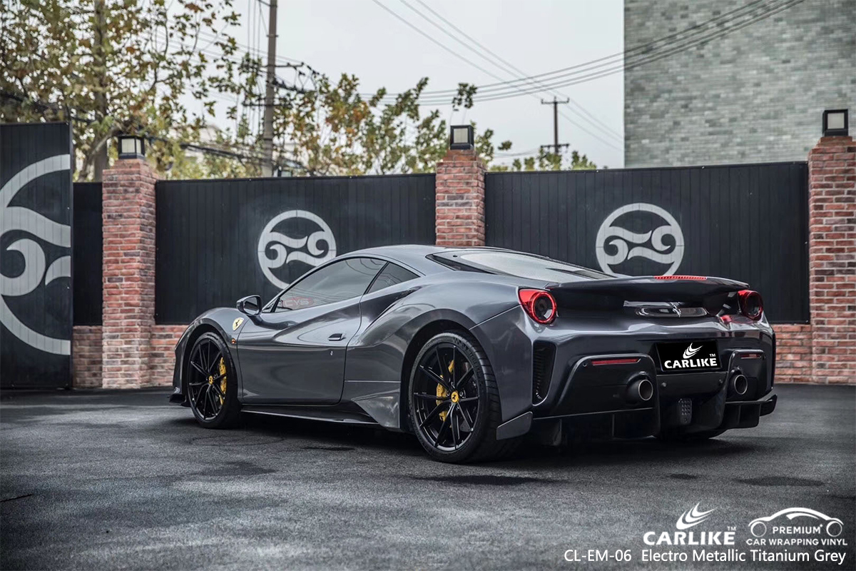 CL-EM-06 electro metallic titanium grey vinyl matte car foil for FERRARI Columbus