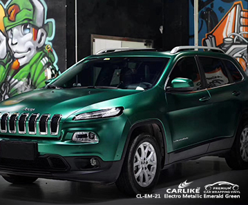 CL-EM-21 electro metallic emerald green vehicle wrapping for JEEP Los Angeles