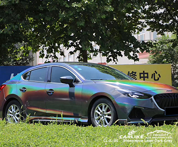 CL-IL-01 iridescence laser dark grey body wrap car supplier for MAZDA Imus