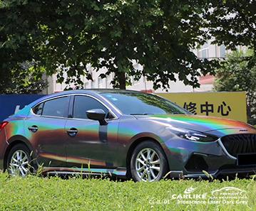 CL-IL-01 iridescence laser dark grey body wrap car supplier for MAZDA Imus