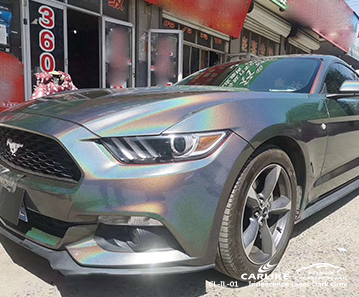 CL-IL-01 iridescence laser dark grey body wrap car supplier for FORD MUSTANG Cincinati