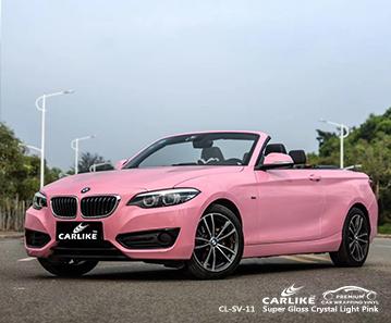 CL-SV-11 involucro in vinile in fibra di carbonio rosa chiaro cristallo super lucido per bici per BMW Kirklareli Turchia