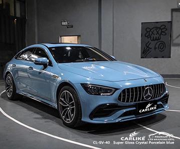 O vinil CL-SV-40 de porcelana azul de cristal super brilhante envolve meu carro para MERCEDES-BENZ Malatya Turquia