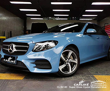 CL-SV-40 super gloss crystal porcelain blue car wrap gloss for MERCEDES-BENZ Atlanta