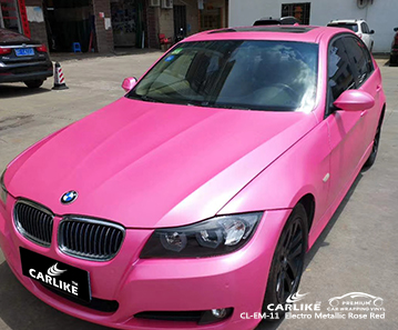 CL-EM-11 electro metallic rose red carbon fibre vinyl wrap for bikes for BMW Brittany France