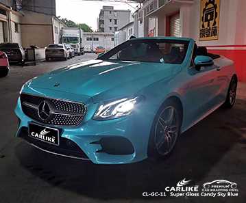 CL-GC-11 super gloss candy sky blue high gloss vinyl wrap for MERCEDES-BENZ Arkansas United States