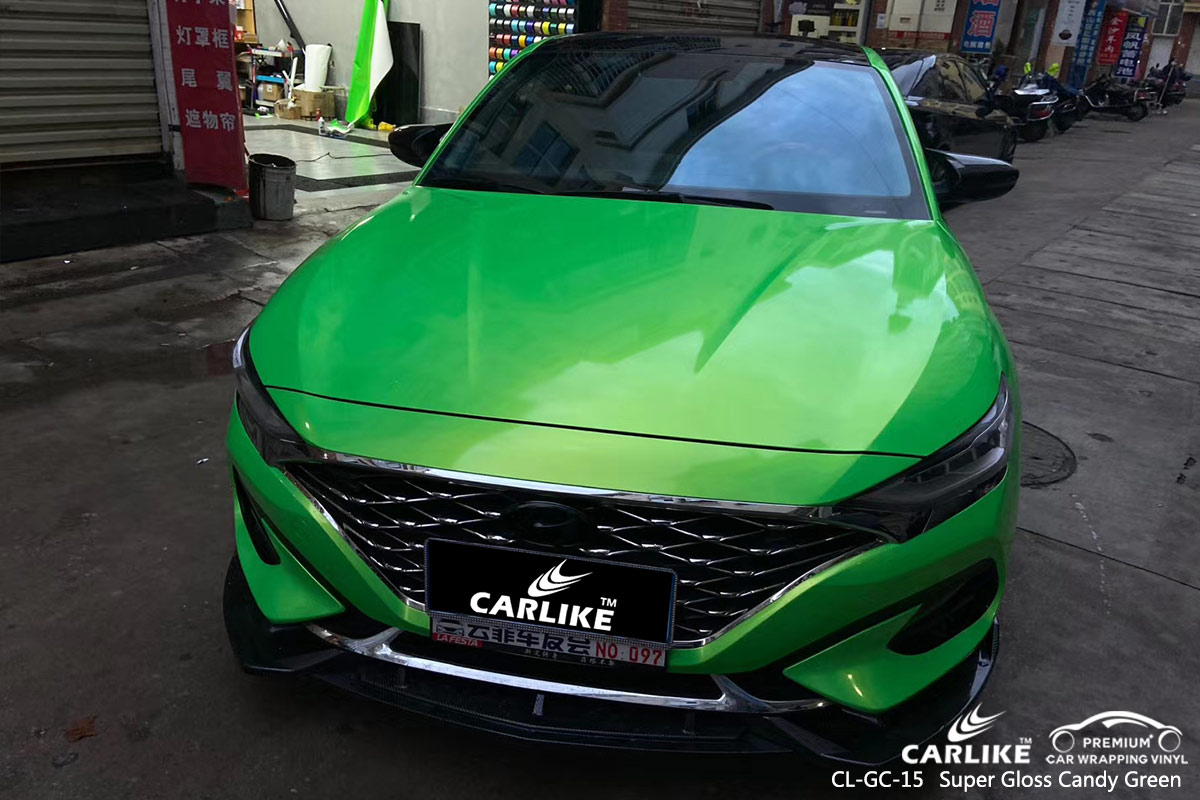 CL-GC-15 super gloss candy green vinyl wrap for GENESIS Wyoming United States