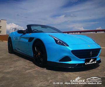 Proveedores de material de vinilo para automóvil CL-GE-22 brillante electro metálico medio azul para FERRARI Nuevo México Estados Unidos