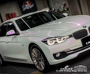 CL-MW-04 gloss magic white to red car wrapping for BMW Saxony Germany