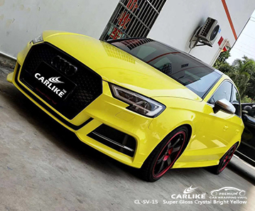 CL-SV-15 super gloss crystal bright yellow car foil for AUDI Provence-Alpes-Cote d'Azur France