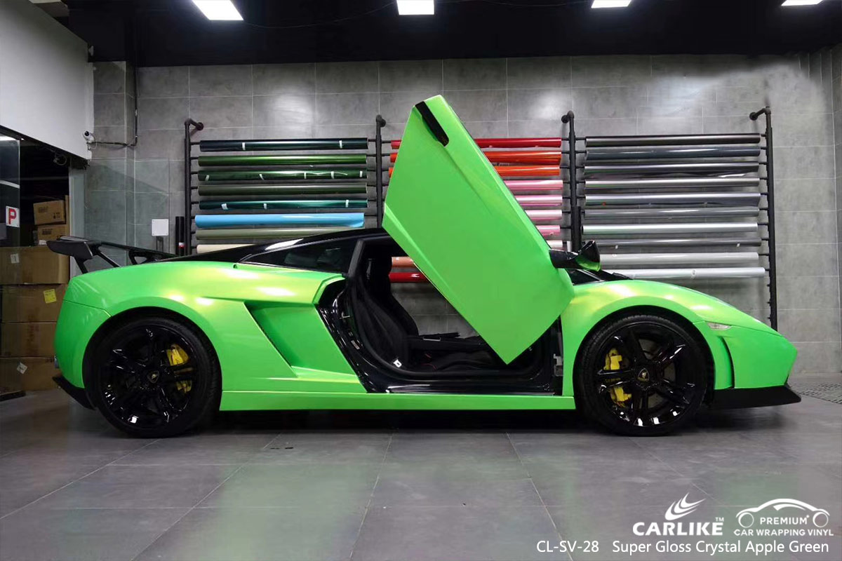CL-SV-28 super gloss crystal apple green body wrap car supplier for LAMBORGHINI Utah United States