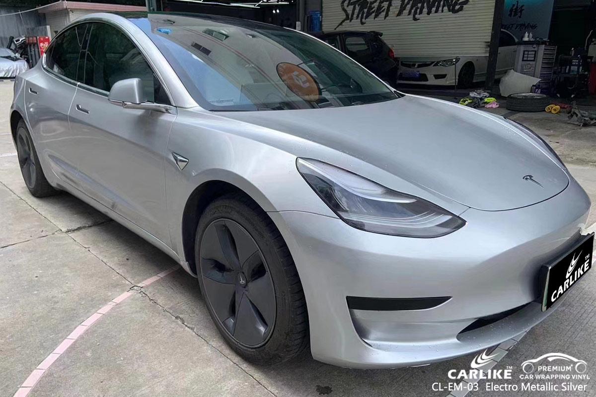 CL-EM-03 electro metallic silver vinyl matte car wrap for TESLA Yozgat Turkey