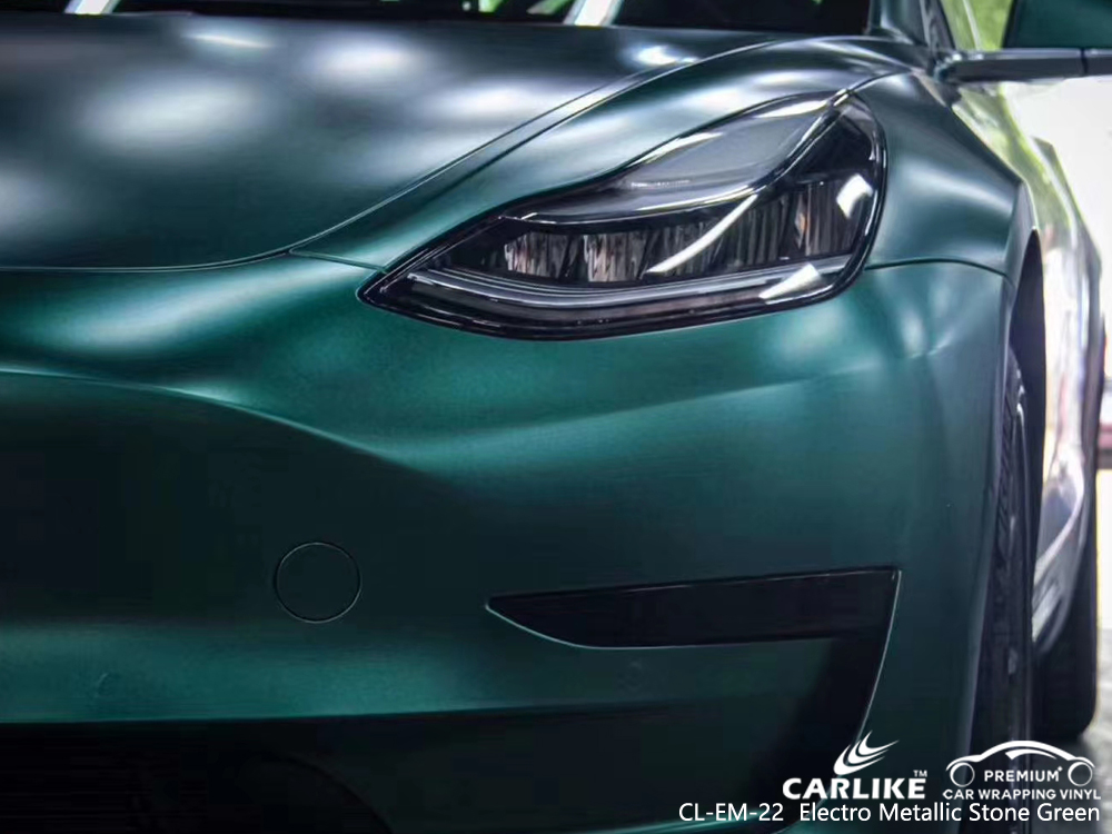 CL-EM-22 electro metallic stone green car wrap gloss for TESLA Ile-de-France France