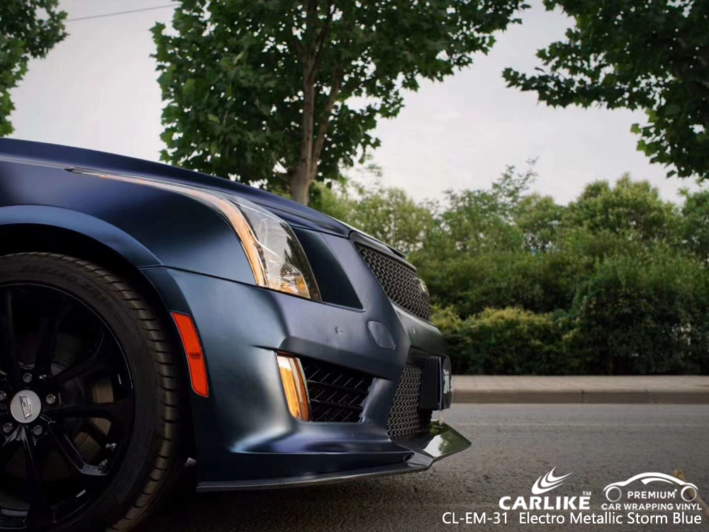CL-EM-31 electro metallic storm blue high gloss vinyl wrap for CADILLAC Nouvelle-Aquitaine France