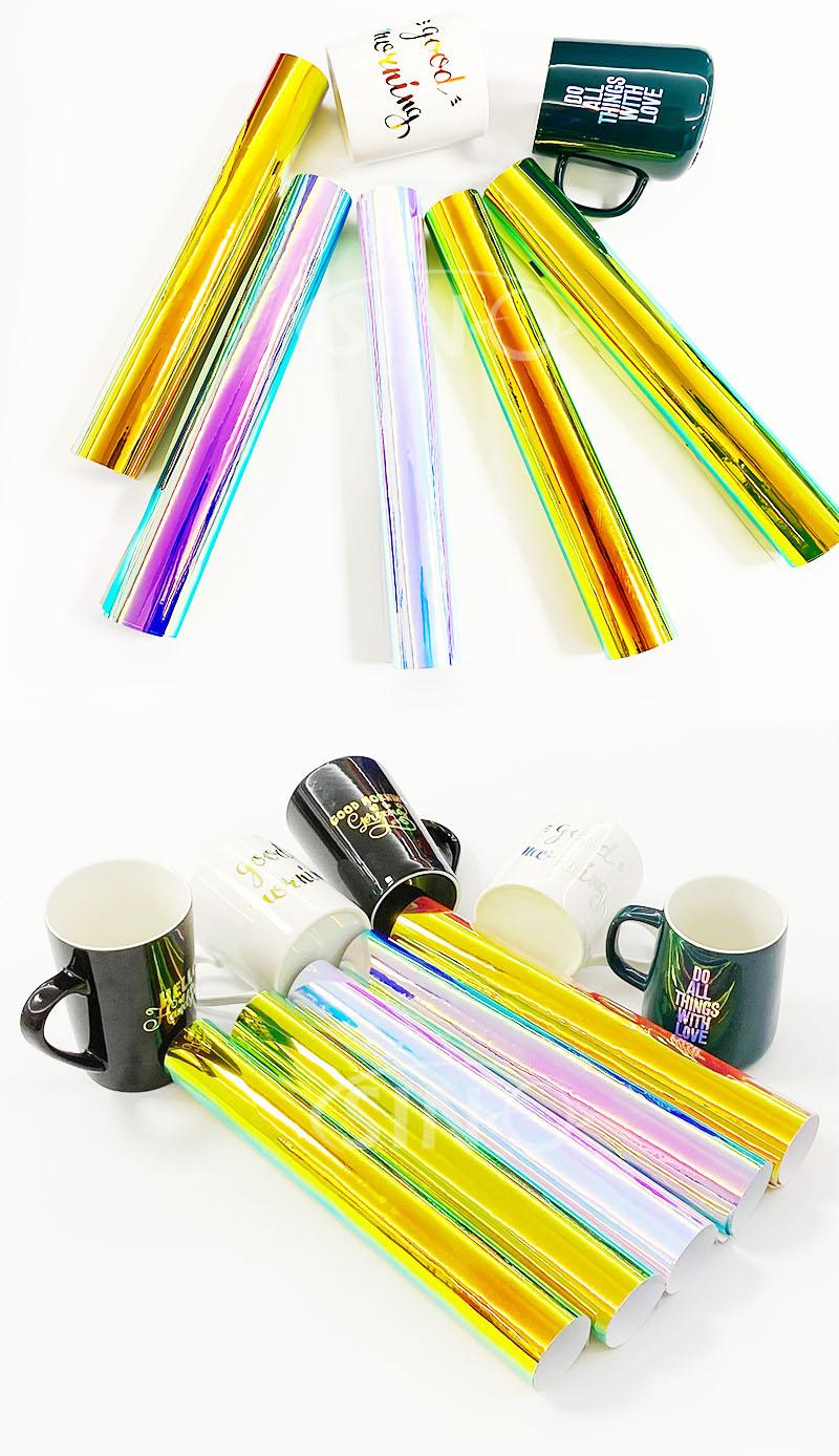 Chrome Rainbow Colorful Self Adhesive Holographic Film DIY Craft  Cutting Vinyl