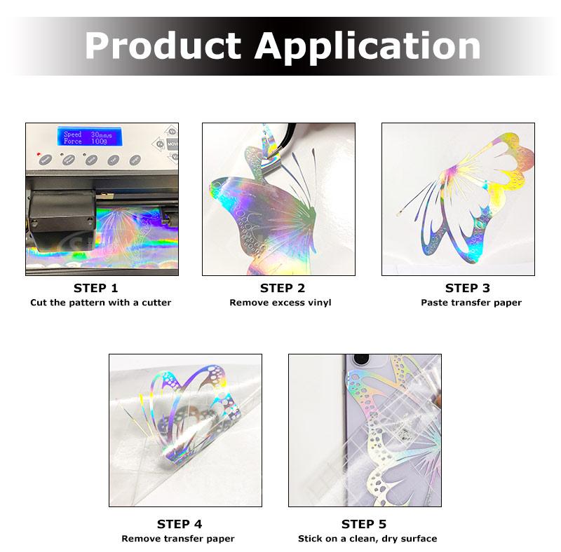 Chrome Rainbow Colorful Self Adhesive Holographic Film DIY Craft Cricut Cutting Vinyl