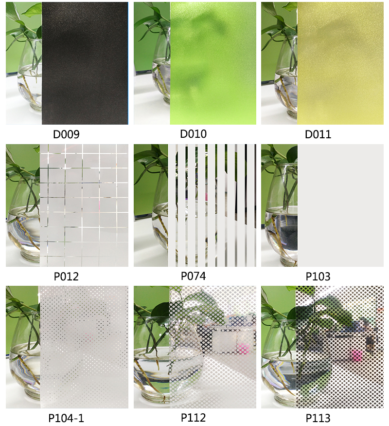 3D Colored Laser Glitter Different Patterns Glass Window Film