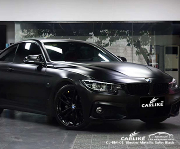 CL-EM-01 electro metallic satin black wrap vinyl for BMW Normandy France