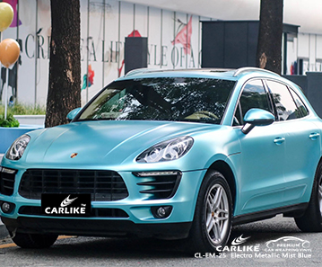 CL-EM-25 electro metallic mist blue vehicle wrapping for PORSCHE Corsica France