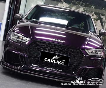Papel adhesivo de vinilo violeta electro metálico brillante CL-GE-18 para AUDI Sao Paulo Brasil