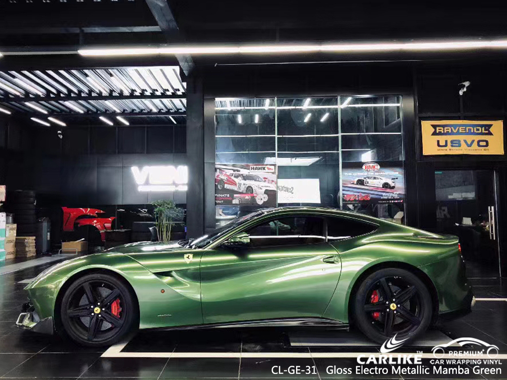 CL-GE-31 Gloss Electro Metallic Mamba Green vinyl matte car wrap for FERRARI Georgia United States