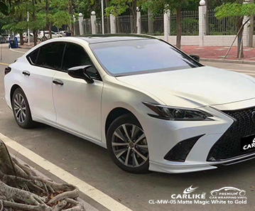 CL-MW-05 matte magic white to gold body wrap car supplier for LEXUS Overijssel Netherlands