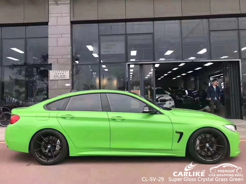 CL-SV-29 super gloss crystal grass green body wrap car supplier for BMW Washington United States