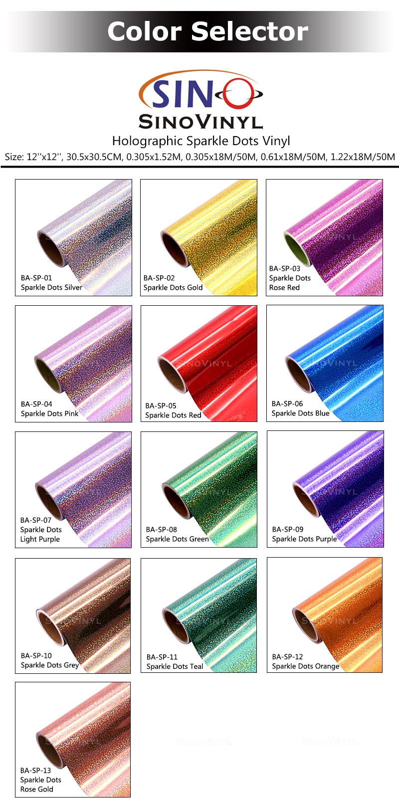 CARLIKE BA-SP Holographic Sparkle Dots Cricut Cutting DIY Craft Vinyl