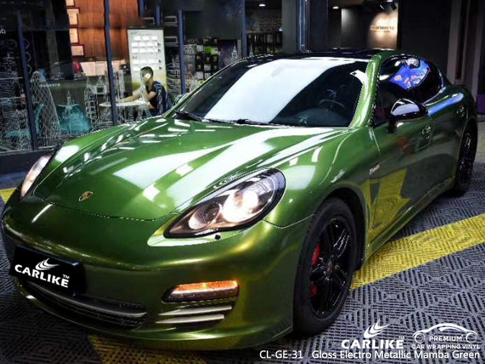 CL-GE-31 gloss electro metallic mamba green vinyl material suppliers for PORSCHE Rhode Island United States