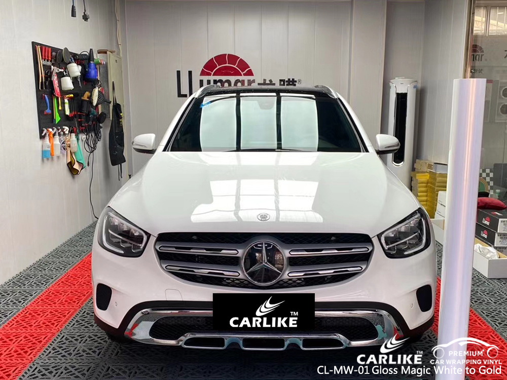 CL-MW-01 gloss magic white to gold vinyl wrap my car for MERCEDES-BENZ Nebraska United States