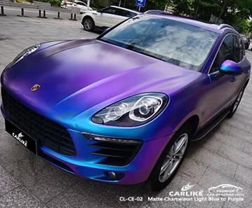 CL-CE-02 mate camaleón proveedores de material de vinilo de azul claro a violeta para PORSCHE Detroit Estados Unidos