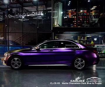 CL-CE-03 mate camaleón azul oscuro a violeta envoltura de vinilo autobike para MERCEDES-BENZ Chicago Estados Unidos