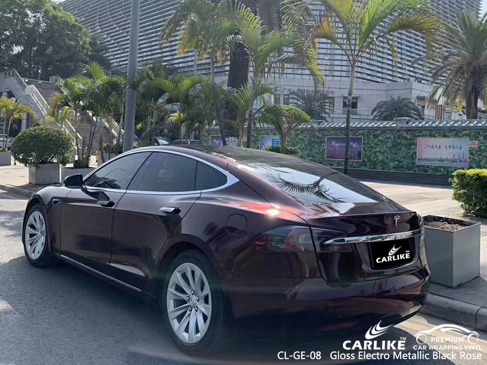 CL-GE-08 gloss electro metallic black rose car wrap gloss for TESLA Antipolo Philippines