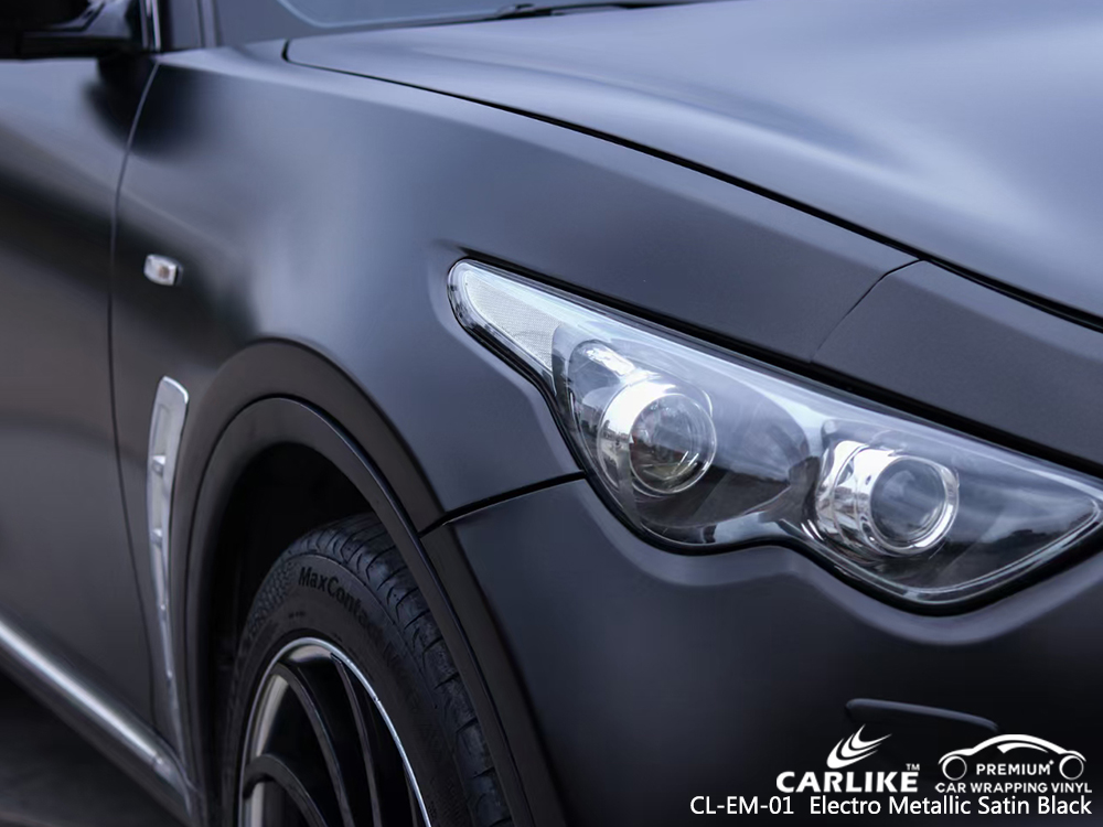 CL-EM-01 electro metallic satin black auto vinyl wrap for INFINITI Calamba Philippines
