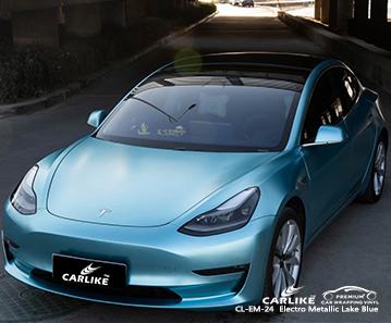 TESLA Mabalacat Filipinler için CL-EM-24 elektro metalik göl mavisi vinil mat araba sarma