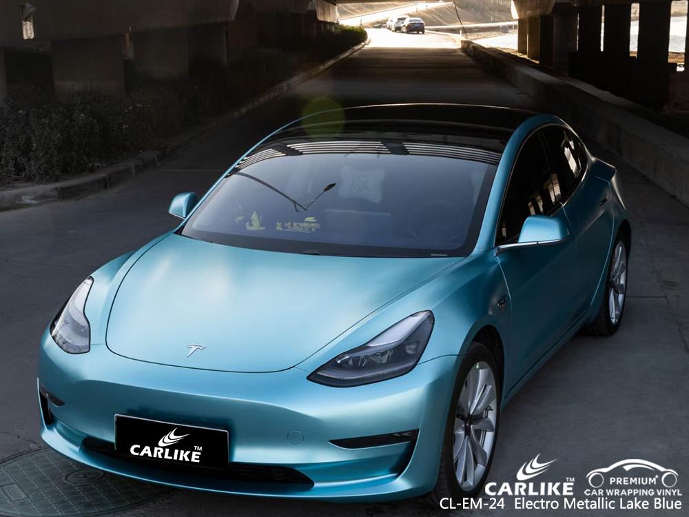 CL-EM-24 electro metallic lake blue vinyl matte car wrap for TESLA Mabalacat Philippines