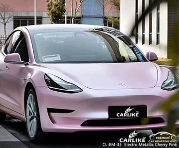 Proveedor de material de envoltura de automóvil rosa cereza electro metálico CL-EM-33 para TESLA