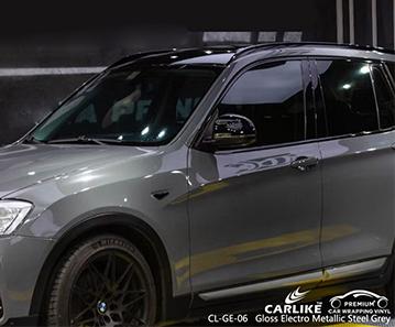 Vinile decorativo per auto grigio acciaio metallizzato lucido CL-GE-06 per BMW