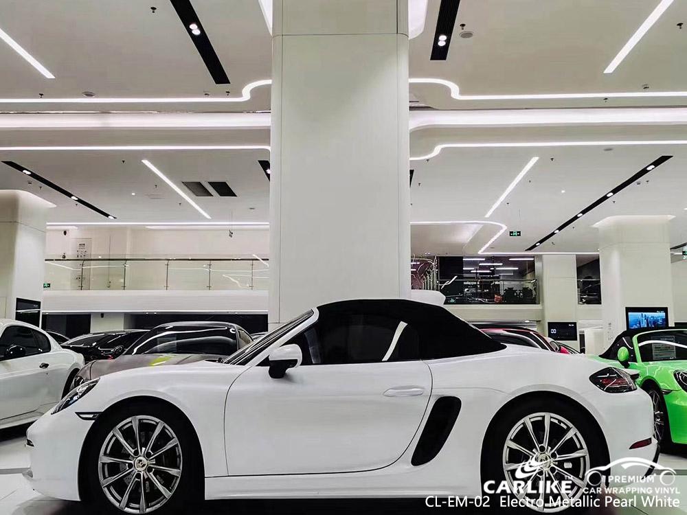 CL-EM-02 electro metallic pearl white vinyl vehicle wrap manufacturer for PORSCHE